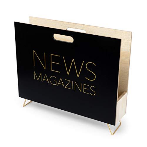 Balvi Porte-revues News Couleur Noir pour Les Magazines, catalogues et journaux avec poignée Bois MDF