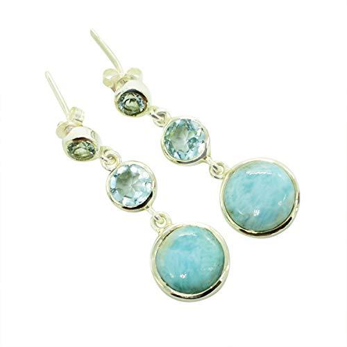 fabuloso Larimar & Blue Topaz Piedra Preciosa 925 Sólida Plata esterlina Stud Pendientes, Joyería hecha a mano, Para Mujeres FSJ-4961