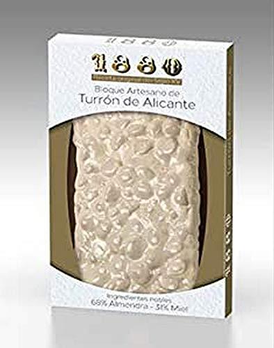 1880 - Turrón de Alicante Artesano Receta Siglo Xv Elaborado com Seleccionada y Miel de Azahar, Textura Crujiente, Turrón Tradicional Sin Gluten, Almendra, 220 Gramos
