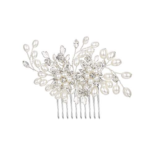 BriLove Women's Teardrop Simulated Pearl Bridal Flower Handmade DIY Bendable Filigree Hair Comb Ivory Color Clear Silver…