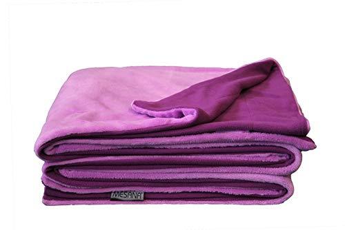 MESANA Wohndecke Decke Bella violett Wendeoptik Polyester Microfaser-Nicky Plüsch 150x200cm Tagesdecke Kuscheldecke Zudecke Sofadecke kuschelig warm