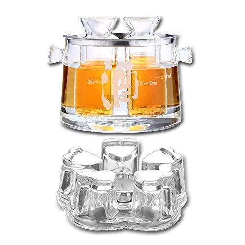 YWTT Juego de Sake de Vidrio de 13 Piezas, Juego de Vino de Sake de Vidrio de borosilicato Alto, 1 Calentador de candelabro y Fregadero y Ranura de fijación de Acero Inoxidable, 4 separadores de