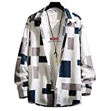 [Make 2 Be] メンズ オーバーサイズ 長袖 シャツ ルーズスタイル モード系 シャカシャカ素材 羽織 柄シャツ 総柄 ポリシャツ プチ チェック 格子柄 白 ゆったり 大きいサイズ M L XL T05 (02.WHITE×GREEN_L)