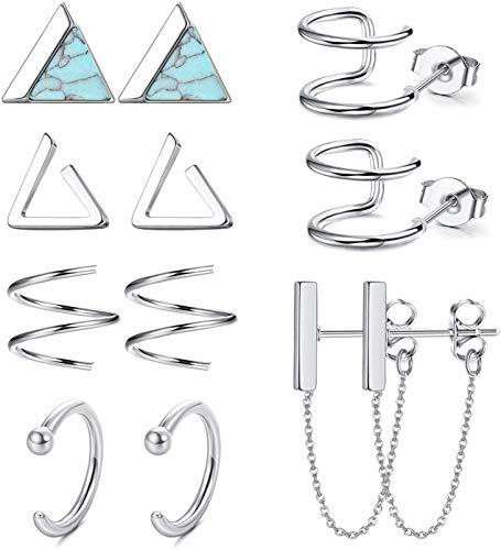 Adramata 6 Pairs Minimalist Hoop Stud Earrings Set for Men Women Small Triangle Cuff Huggie Chain Dangle Earrings Stainless Steel Cartilage Helix Piercing Set