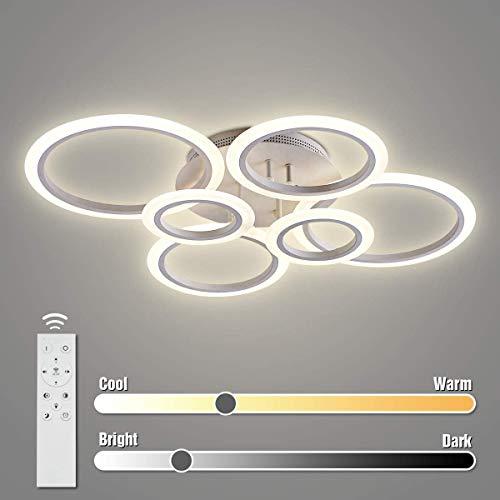 LED-Deckenleuchte, XKP 72W LED-Deckenleuchte 6400LM Weiß 6 Ringe Leuchte für Wohnzimmer, Schlafzimmer, Esszimmer, dimmbare Fernbedienung, stufenloses Dimmen