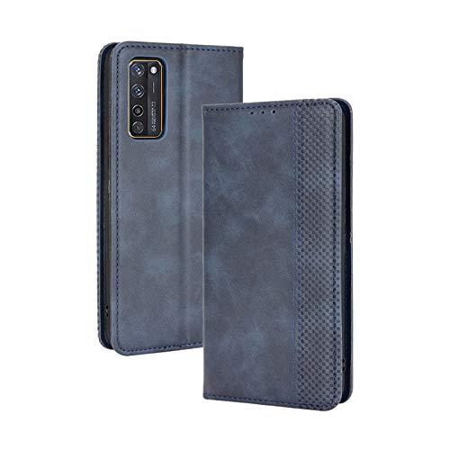 TOPOFU Leder Hülle für ZTE Axon 20 5G, Premium Flip Wallet Tasche mit Ständer & Kartenfächer, PU/TPU Magnetic Lederhülle Handyhülle Schutzhülle für ZTE Axon 20 5G (Blau)