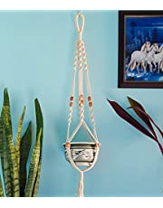 ecofynd® Macrame Cotton Boho Plant Hanger [Without Pot] | Rope Flower Pot Holder for Indoor Outdoor Balcony Gardening | Home Decor Ceiling Wall Hanging Vertical Garden