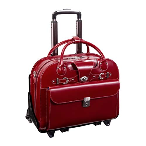 McKlein, W Series, Roseville, Top Grain Cowhide Leather, 15' Leather Fly-Through Checkpoint-Friendly Patented Detachable -Wheeled Ladies' Laptop Briefcase, Red (96646)
