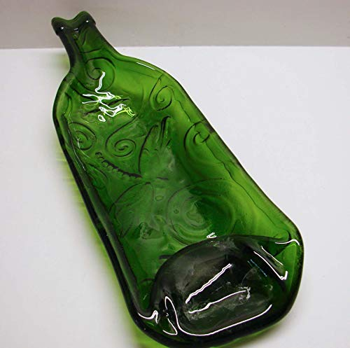 Dragonfly Embossed Moss Green Wine Bottle Shallow Dish Candle Holder Serving Dish
