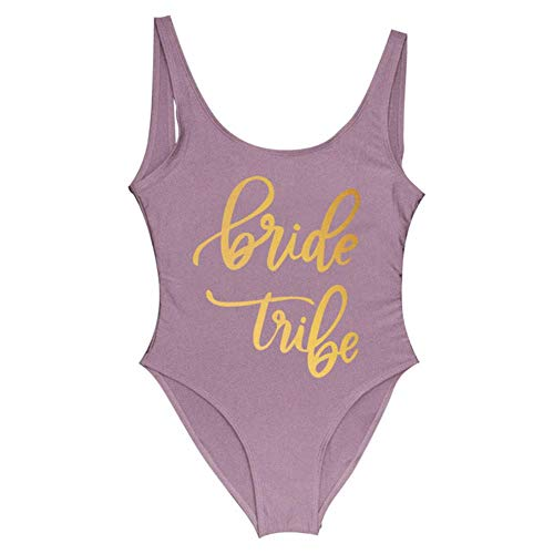 JINMENHUO Braut Stamm Print One Piece Badeanzug für Frauen Badeanzug Female Lining Bikini Hochzeitsfeier Backless Beachwear Bikini, brauner Brautstamm, XXXL