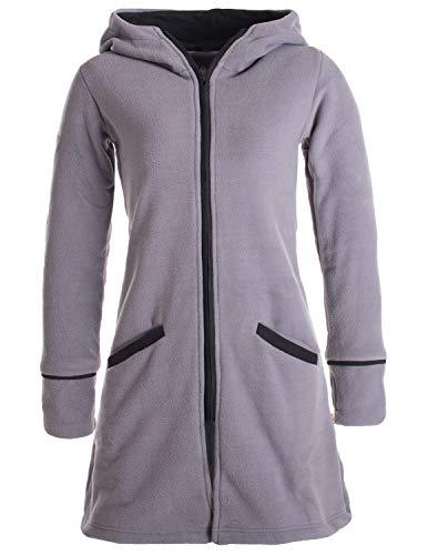 Vishes- Alternative Bekleidung - Warmer Wintermantel aus Eco Fleece mit Zipfelkapuze grau 34