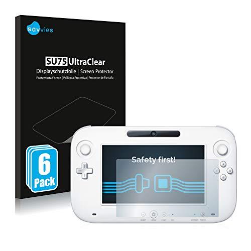 savvies Protector Pantalla Compatible con Nintendo Wii U Gamepad (Controller) (6 Unidades) Película Ultra Transparente