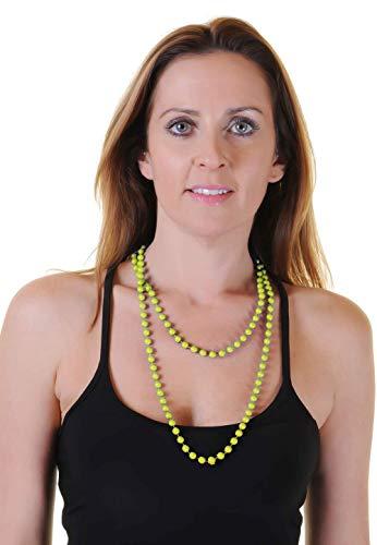 Wicked Fun - Collana di perle anni '80, in plastica, 122 cm, colore: giallo fluo