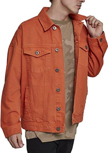 Urban Classics Herren Oversize Garment Dye Jacket Jeansjacke, Orange (Rust Orange 01150), Small (Herstellergröße: S)