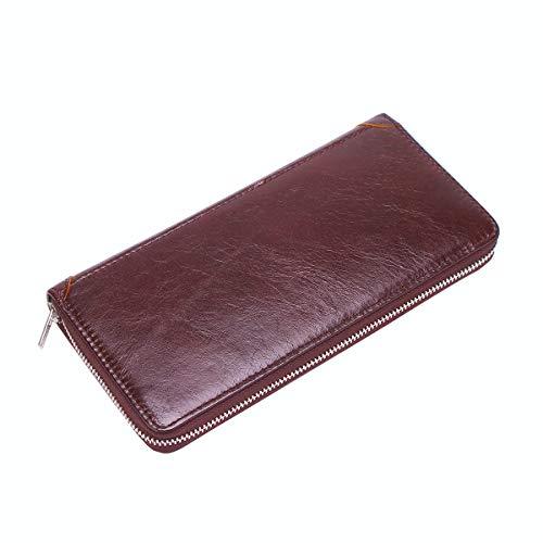 CATORIA メンズ長財布 本革 ウォレット 牛革 紳士財布 ボックス型の小銭入れ付き YKKファスナー採用 ビジネス カジュアル 抜群の収納力 シンプル (ブラウン)