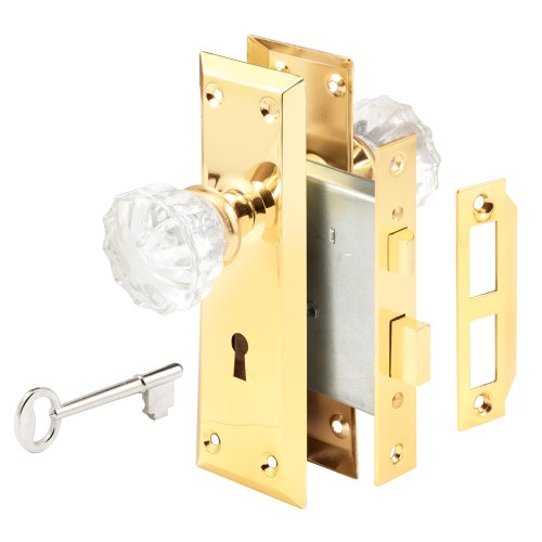 """Defender Security E 2311 Mortise Keyed Lock Set with Glass Knob – Perfect for Replacing Antique Lock Sets and More, Fits Doors with 2-3/8"""" Backset"""