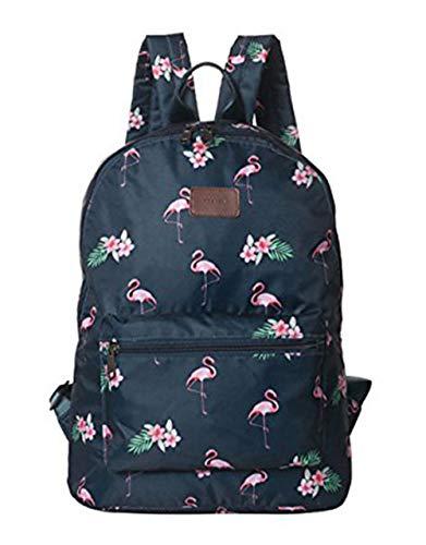 Boomly Damen Mädchen Flamingos Rucksack Schüler Schulranzen Mode tragbar Schultertasche Outdoor Reise Handtasche (Navy Blau)