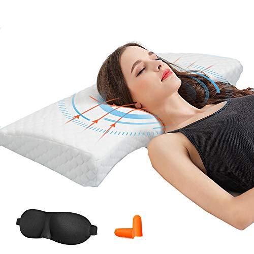 Lucear Orthopädisches Kissen Nackenstützkissen ergonomisches Kopfkissen Memory-Schaum Kissen(Memory Foam) für Seitenschläfer Rückenschläfer und Bauchschläfer