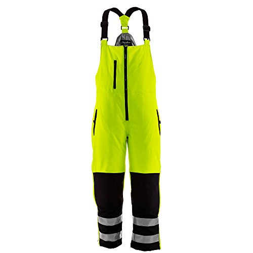 RefrigiWear Hivis Insulated Softshell Bib Overalls - ANSI Class E High Visibility Lime with Reflective Tape Medium