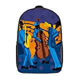 GKGYGZL Travel Laptop Backpack,Jazz Band A Jazz Band With A Trumpet Player,Large Business Water Resistant Anti Theft Computer Daypack Slim Durable