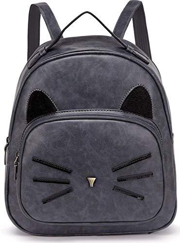 Women Mini Leather Backpacks Cute Cat Teen Girls Daypack Rucksack Small Bags Grey