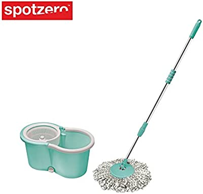 Spotzero Smart 360 Degree Movement Spin Mop with Bucket m Extendable Handle, 1 Refill for Multipurpose Cleaning (Aqua Green)