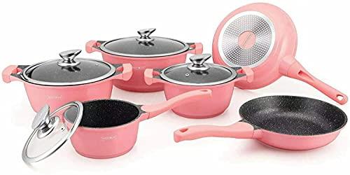 Set Pentole Batteria Royalty Line Batteria da cucina per tutti i tipi di fuochi a induzione senza PFOA, cottura senza grassi, rivestimento in Greblon colore: Rosa