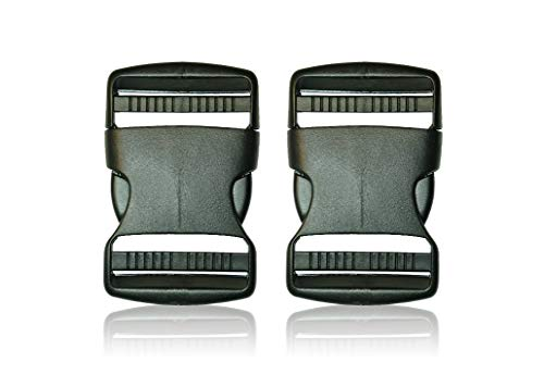 BOB-MEISTERWERK BOUCLE- Boucle Plastique Clip Latéral Noir Contoured Release Buckle pour Sangle/Dog Collar/Corde/ - Boucle sac à dos -Double side Release- 2X50MM- Made in EUROPE