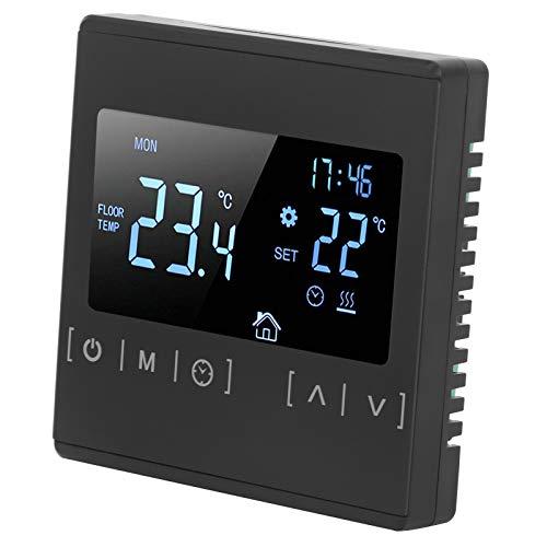 Asixxsix Termostato de Suelo Radiante, termostato programable AC85V-240V, plástico para Cable Calefactor de Alfombra calefactora