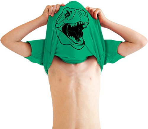 Youth Ask Me About My Trex T Shirt Funny Cool Dinosaur Flip Graphic Print Kids (Green) - XL