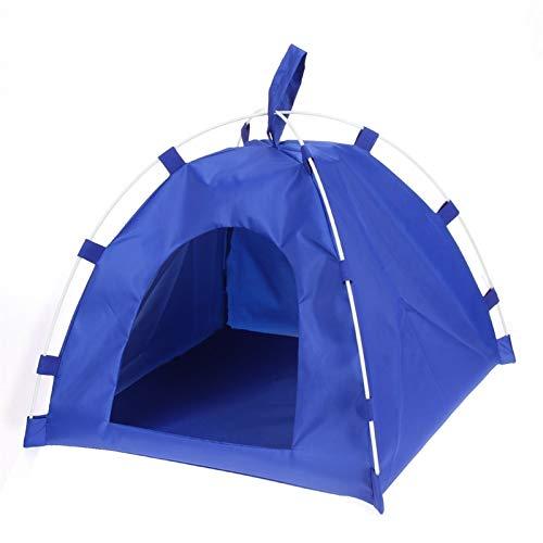 Tragbare Klapptier Zelt Haus Hund Katze Bett Matte wasserdichte Kennelbett for kleine mittelgroße Hunde Outdoor Supplies (Color : Blue, Size : Medium)