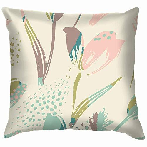 Double Cheese Abstract Floral Tulips Trendy Flower Throw Pillow Case Funda de cojín Funda de Almohada Acuarela para sofá