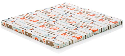 Fillikid Matratze Laufgitter Exclusiv 100 cm x 93 cm   Laufgitter Babymatratze   Bezug 100% Baumwolle & atmungsaktiv   Baby Laufstalleinlage Bezug abnehmbar & waschbar, Design:Fuchs