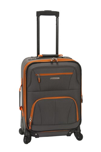 Rockland Pasadena Softside Spinner Wheel Luggage, Charcoal, Carry-On 20-Inch