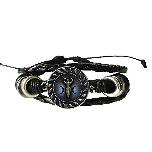 Antikes Armband Vintage Seal Zodiac Witchcraft Glas Lederarmband Crescent Vintage Schwarz Armband Schmuck