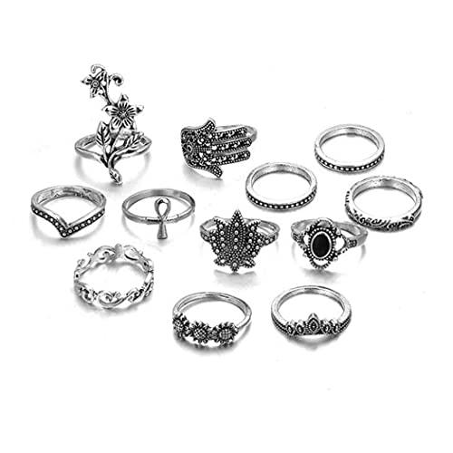Belasa Vintage Set di anelli per le nocche Anello con fiore in argento Set di anelli con foglia Anelli con corona a corona Accessori per gioielli per donne e ragazze (confezione da 12)