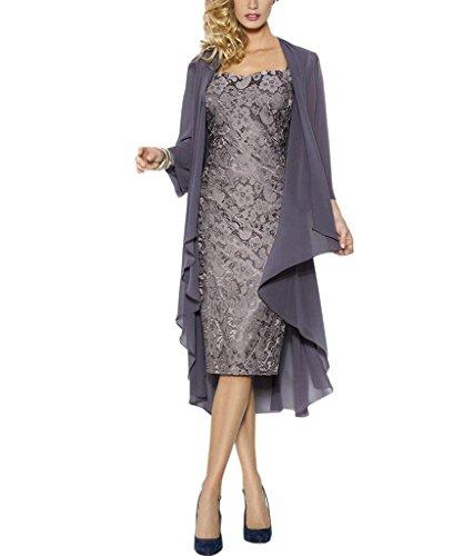 Rachel Weisz Lace Grosse groessen Brautmutterkleider mit Jacke Fuer Hochzeitskleider Festliche Kleider Gr 48 Grau