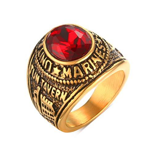 Oidea Anello Uomo Marines Fidanzamento Promessa Acciaio inossidabile Strass Rosso Oro