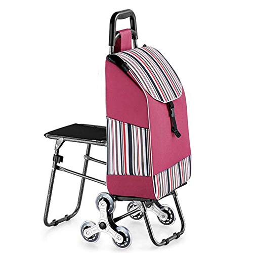 Foldable Shopping Trolley with Seat, 3 Wheels Stair Climbing Grocery Cart, Waterproof/Red