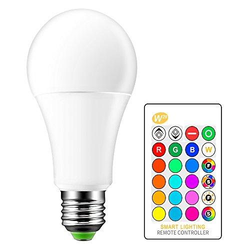E27 Bombilla de luz que cambia de color 15W Regulable RGBW Bombillas de luz LED Iluminación ambiental con control remoto de 24 teclas, 4 modos, 16 opciones de color para el hogar, fiesta