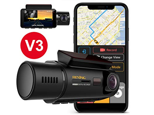 "Price comparison product image Rexing V3 Dual Camera Front and Inside Cabin Infrared Night Vision UHD 2160p WiFi Car Taxi Dash Cam with Supercapacitor,  2.7"" LCD Screen,  Parking Monitor,  Mobile App (V3 - with GPS)"