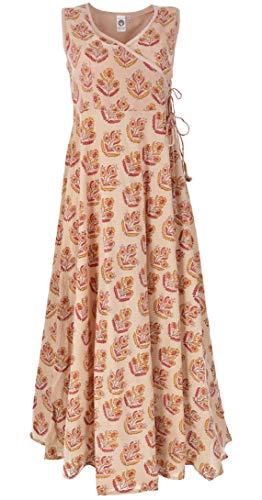Guru-Shop Boho Maxikleid, Sommerkleid, Damen, Pastellgelb, Baumwolle, Size:M (38), Lange & Midi-Kleider Alternative Bekleidung
