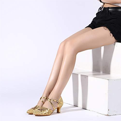 HROYL Damen Tanzschuhe/Latin Dance Schuhe Glattleder Ballsaal Modell-D5-511 Gold 40 EU - 5