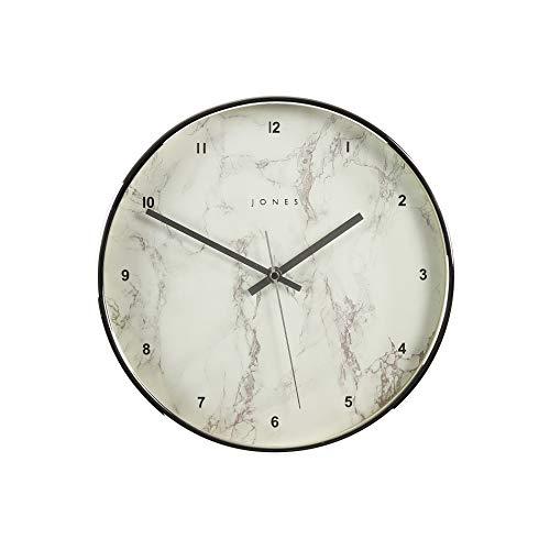 JONES CLOCKS, Reloj de Pared Redondo de Cuarzo de Estudio, Caja de Color de diseño Moderno, Esfera Simple o de mármol, Cocina, el salón/el Comedor o la Oficina de 30 cm (Plata y Mármol)