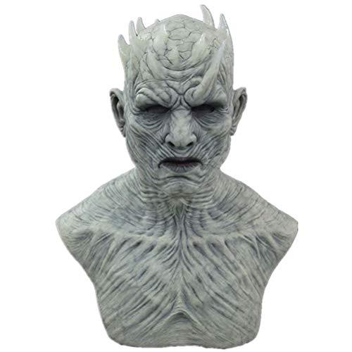 Night King Maske, Halloween Cosplay Nacht König Zombie Latex Masken Halloween Party Kostüm Requisiten, Halloween Requisiten Dekorationen White Walker Zombie Maske Nights King Cosplay Kostüm