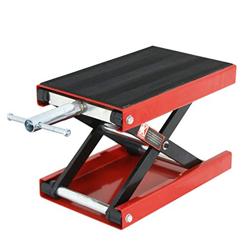 TRIL GEAR Wide Deck Motorcycle Scissor Jack Lift Stand Widow Cruiser Touring Bike 1100 lbs Red