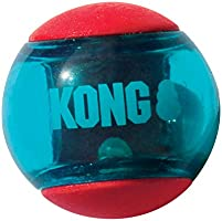 KONG - Squeezz Action Ball Red - Multi Textured Squeaker Interactive Fetch Toy - For Medium Dogs