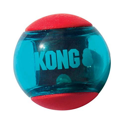 KONG - Squeezz Action Ball Rojo - Juguete sonoro para buscar con textura - Para Perros de Raza Grande