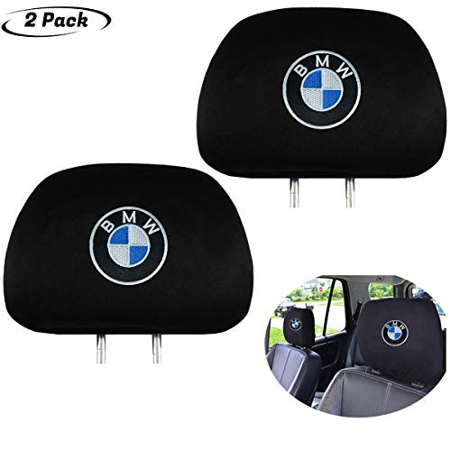 2Pcs Black Comfortable Headrest Cover for BMW,Easy to disassemble and wash,Can be Extended and Applied Universal All car Models,Have Storage Function