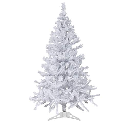 Wohaga Sapin de Noel Artificiel avec Support d'arbre de Noël 600 Branches synthétique Arbre décoration Blanc